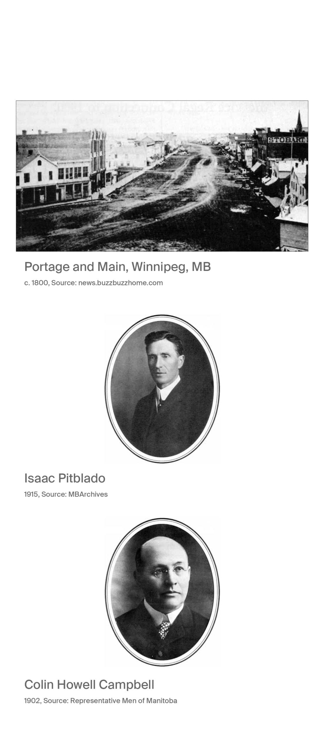 Portage and Main, Winnipeg, MB, circa 1800, source news.buzzbuzzhome.com. Isaac Pitblado 1915, source MB Archives. Colin Howell capbell 1902, Source Representative Men of Manitoba.