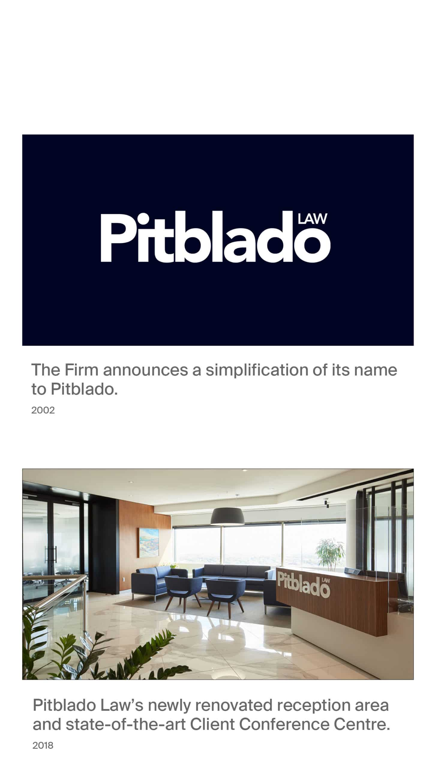 Pitblado announces simplification of its name in 2002 with new logo. Image 2, newly renovated office reception area and state-of-the-art Client Conference Centre.